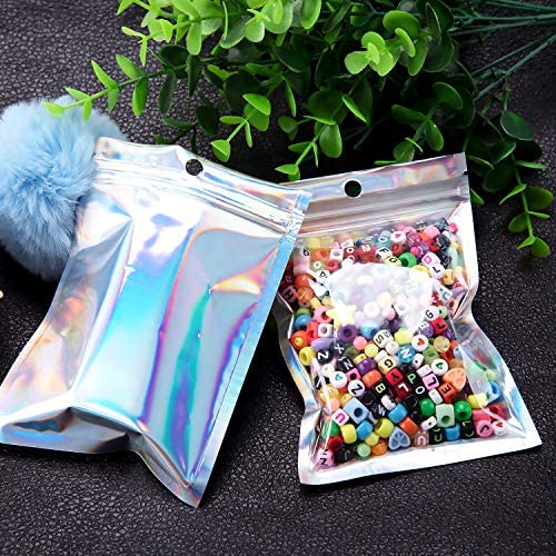 BQTQ 150 Pieces Smell Proof Baggies Holographic Bags Resealable Foil Ziplock Bags Aluminum Foil Bags Flat Metallic Bag Food Storage Pouch for Lip Eyelash Jewelry (Holographic Color, 3.1 x 5.1 Inch)