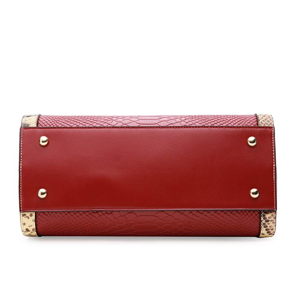 Amazon.com: Sdcvopl Womens Handbag Leather Handbag Boston Handbag Embossed Snake Pattern Shoulder Portable Messenger Bag Cute Handbag (Color : Wine red): ...
