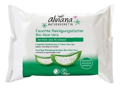 alviana Natural Toallitas húmedas cosmético con aloe vera 25 unidades Vegan natrue