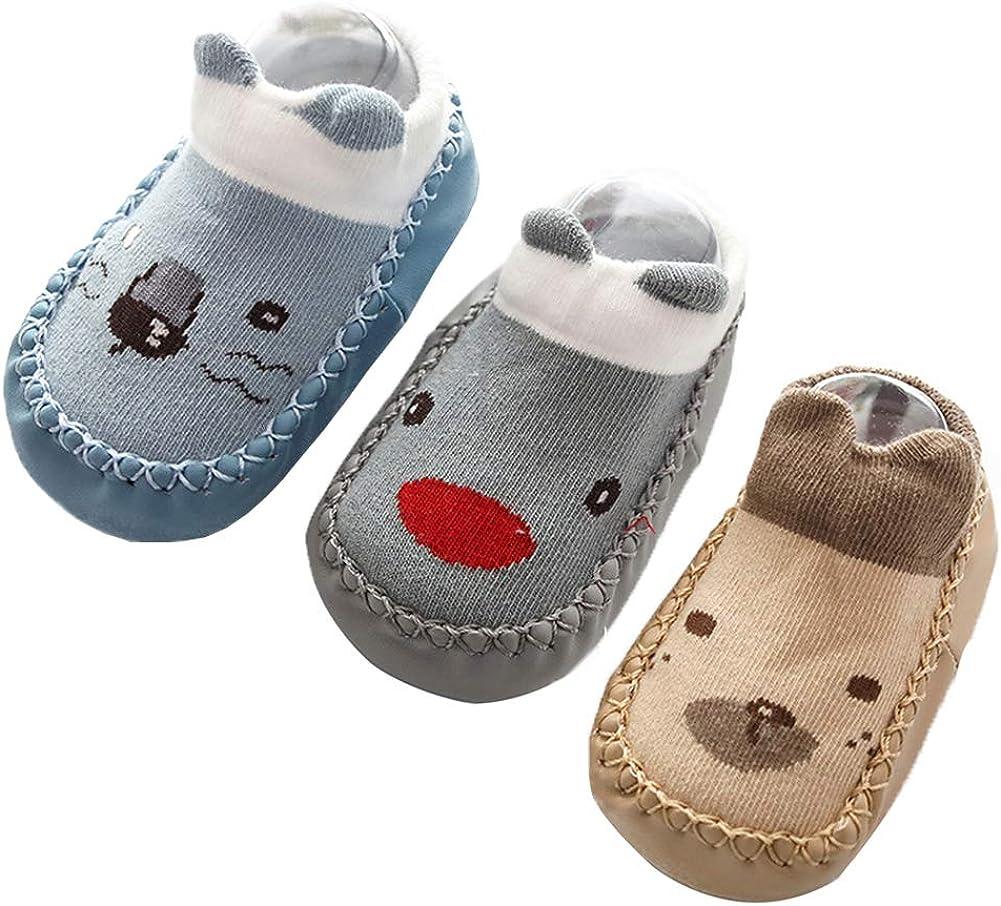Happy Cherry 3Pcs Calcetines Prewalker para Recien Nacido Antideslizante Zapatillas de Piso Estampado Dibujo Animado Algodón Multicolor