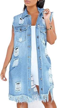 Gocgt Womens Loose Denim Waistcoat Vest Sleeveless Coat Long Jean Tops