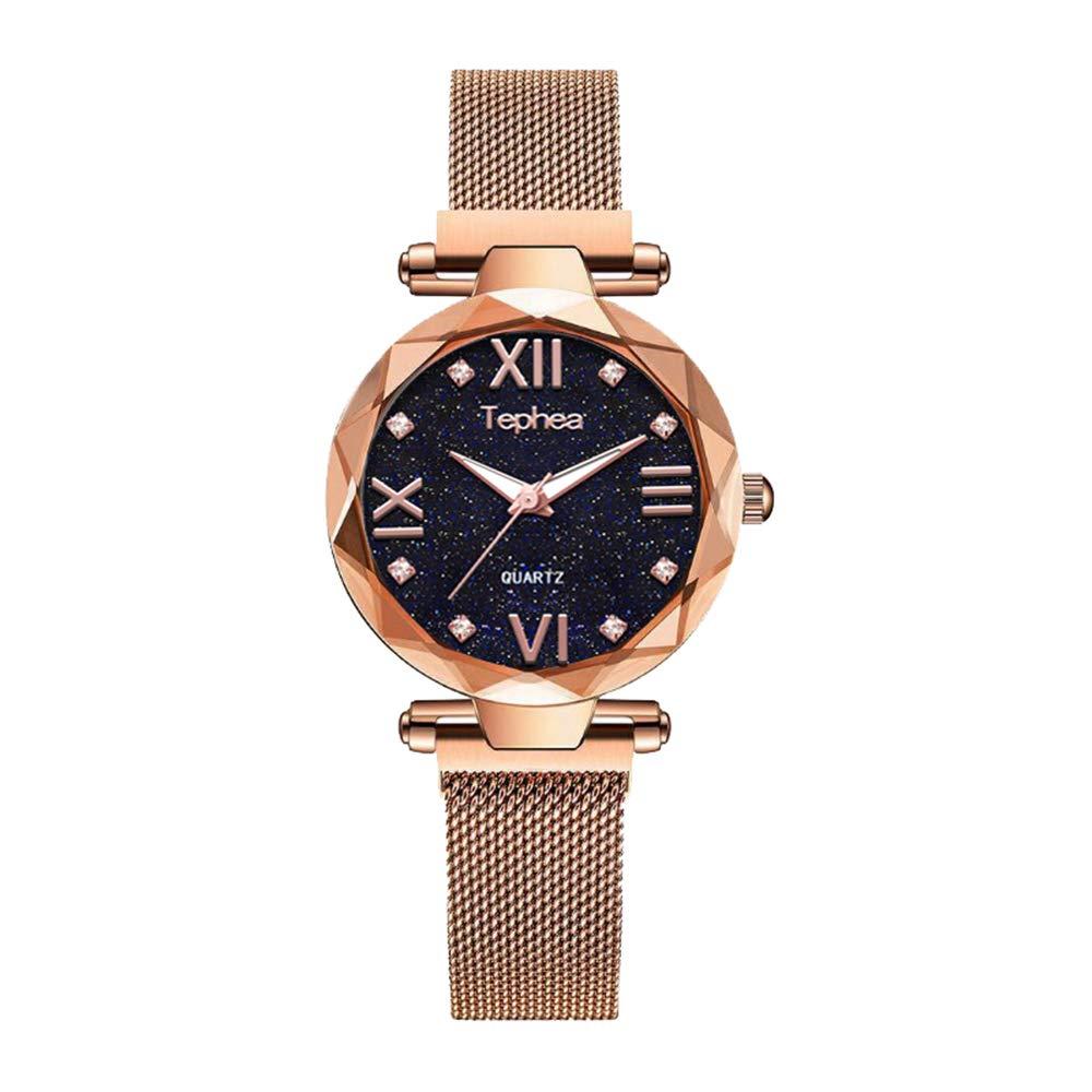 Tephea Magnetic Mesh Band Ladies Watch Roman Numerals Starry Sky Dial Waterproof Crystal Quartz Rhinestone Fashion Wristwatch – TE1922