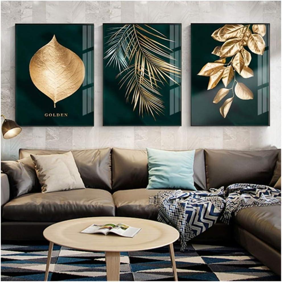 HSFFBHFBH Leinwand Malerei Kunstdruck Zusammenfassung Goldene Pflanze Bl/ätter Bild Wandplakat Modern Style Gang Wohnzimmer Dekoration 30x40cm x3 Kein Rahmen 11.8x15.7