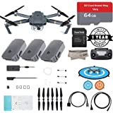 DJI Mavic Pro Quadcopter with Remote Controller, 3 Batteries(1 New Battery, 2 Open Box Batteries)64GB Micro SD With Adapter, Landing Pad, Microfibre Cloths, With 1-Year Warranty - Gray