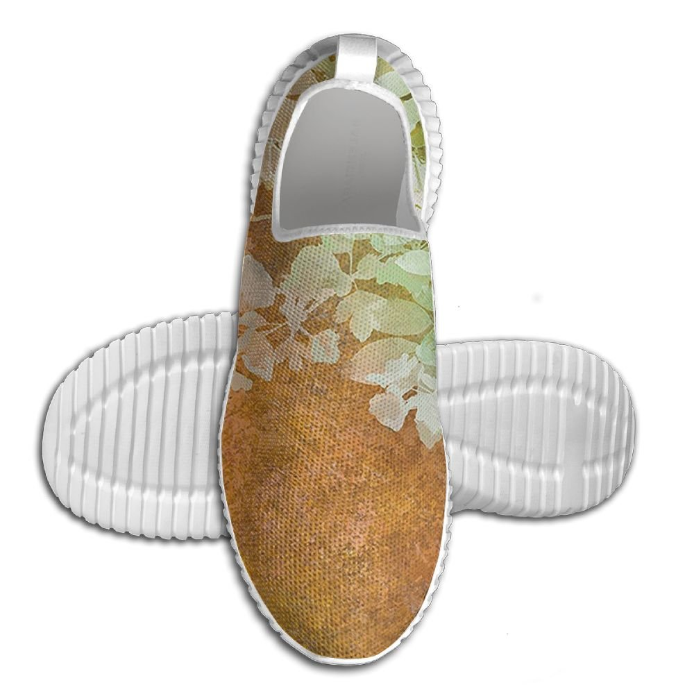 DiamondsJun Unisex Flowers And Leaves Vintage Painting On Blur Paper All Over 3D Printed Mesh Slip On Fashion Comfortable Shoes 41