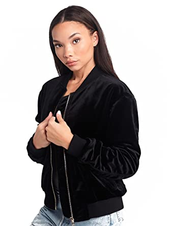 Amazon.com  Young and Reckless - Shelby Velvet Bomber Jacket- Black - XS -  Womens - Outerwear - Bombers Varsity - Black  Clothing 3e2868297