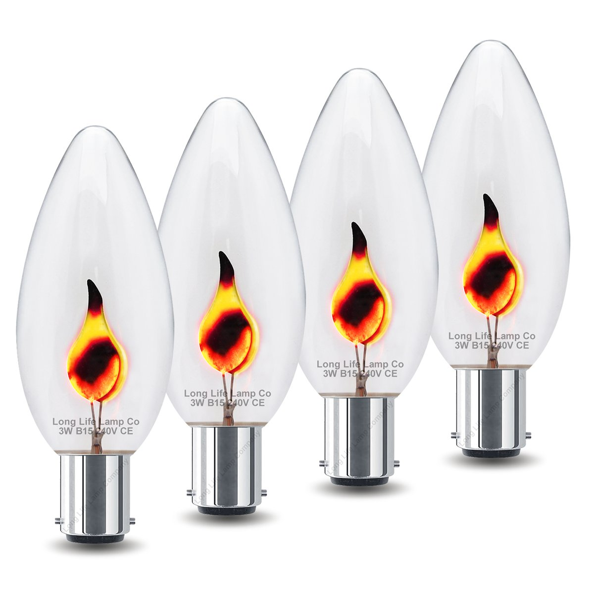 4 x 3w Flicker Flame Candle Light Bulb B15 Small Bayonet Long Life Lamp Company