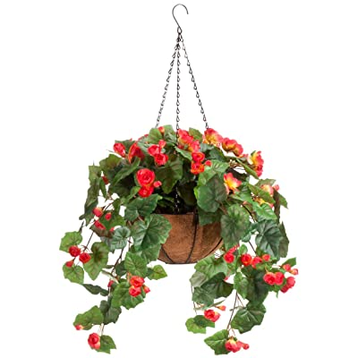 "OakRidge Miles Kimball Fully Assembled Artificial Begonia Hanging Basket, 10"" Diameter and 18"" Chain – Coral Polyester/Plastic Flowers in Metal and Coco Fiber Liner Basket for Indoor/Outdoor Use: Home & Kitchen"