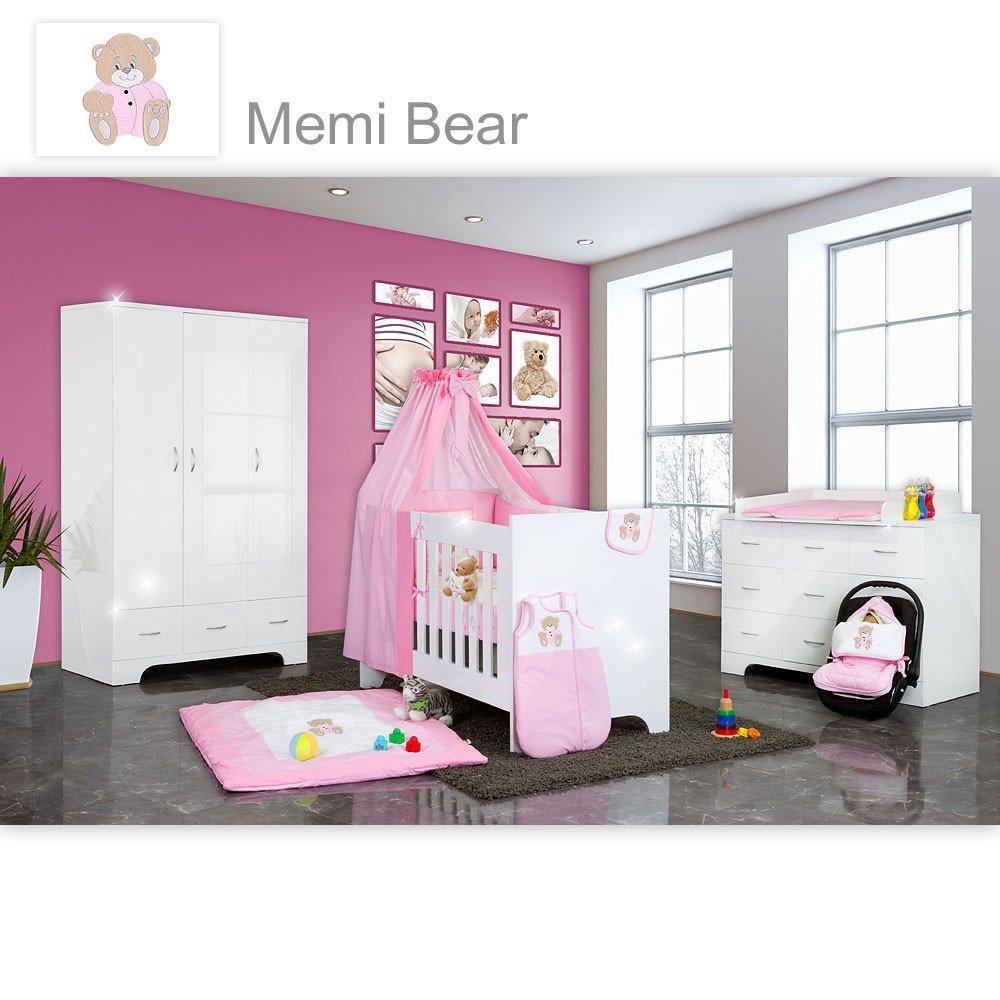 Hochglanz Babyzimmer Memi 19-tlg. mit Textilien Memi in Rosa