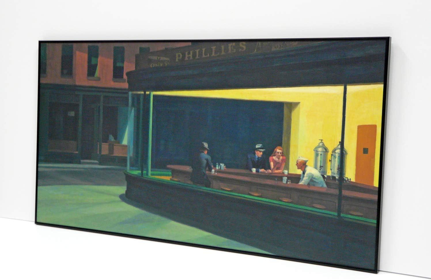 BaikalGallery Nighthawks, Edward Hopper 1942, Cuadro Enmarcado (P2678)- Moldura Aluminio Negro Mate - Montaje en Panel Adhesivo y Rígido de 1cm (Foam)- Laminado Acabado Mate (Sin Cristal) (60x120cm)