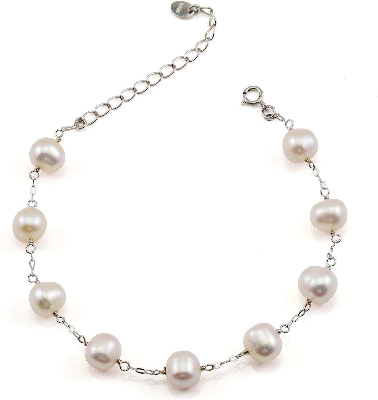 JFUME Women Cultured Freshwater White Pearl Bracelet Sterling Silver or  Stainless Steel Adjustable