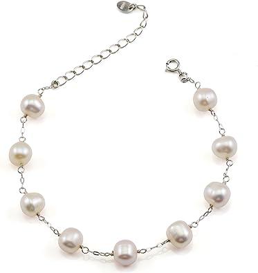 Argent Bracelet Femme Perle Bijoux