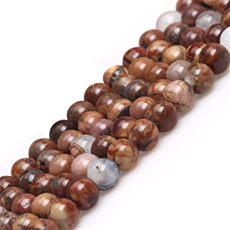 """6MM PAINTING JASPER GEMSTONE BROWN FACETED ROUND 6MM LOOSE BEADS 15.5/"""""""