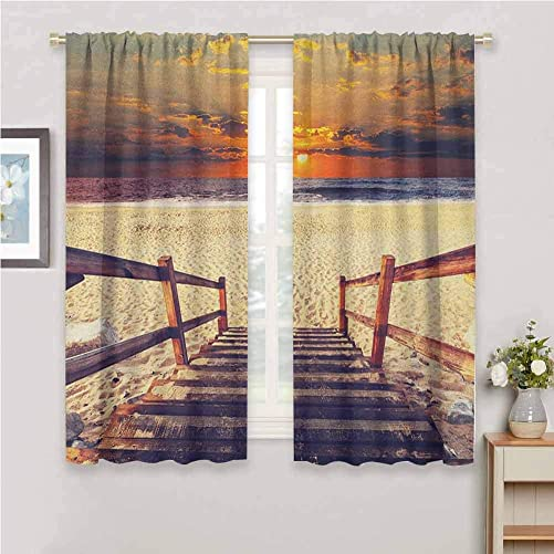Beach Drapes Panels Stairs Lead to The Beach with Dramatic Horizon Scenery Magic Skyline Solitude Print Curtains for Living Room Orange Cream 72 x 72 inch