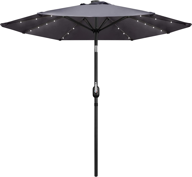 ZNCMRR 9FT LED Solar Umbrella with LED Light, Adjustment Patio Umbrella for Garden, Pool, Beach, Deck and Backyard (Gray)