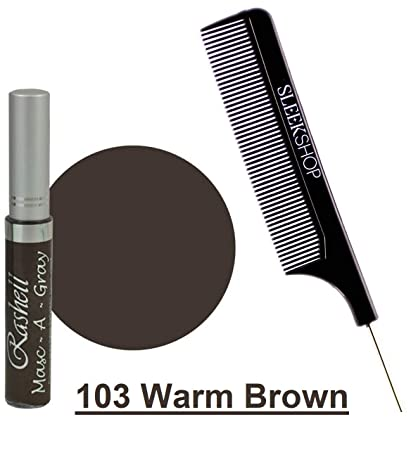 003c88ab986 Amazon.com : Rashell MASC-A-GRAY Finest Hair Mascara for GRAY HAIR (w/Sleek  Steel Pin Tail Comb) Mask Grey (103 Warm Brown) : Beauty