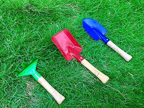 "E-lishine 8"" Long Gardening Tools for Kids, 3-Piece Kids Garden Tools with Rake,Shovel and Trowel"
