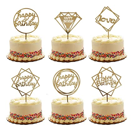 Acrylic Gold Color Dessert Cake Topper Baby Shower Happy Birthday Party Supplies