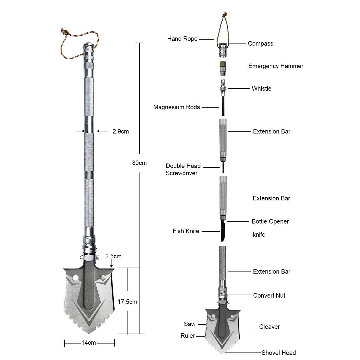 BACOENG Compact Folding Shovel [31 inch Length] with MOLLE Pouch - Tactical Multitool Spade Kit for Camping, Hiking, Backpacking, Fishing, Trench Entrenching Tool etc by BACOENG (Image #2)