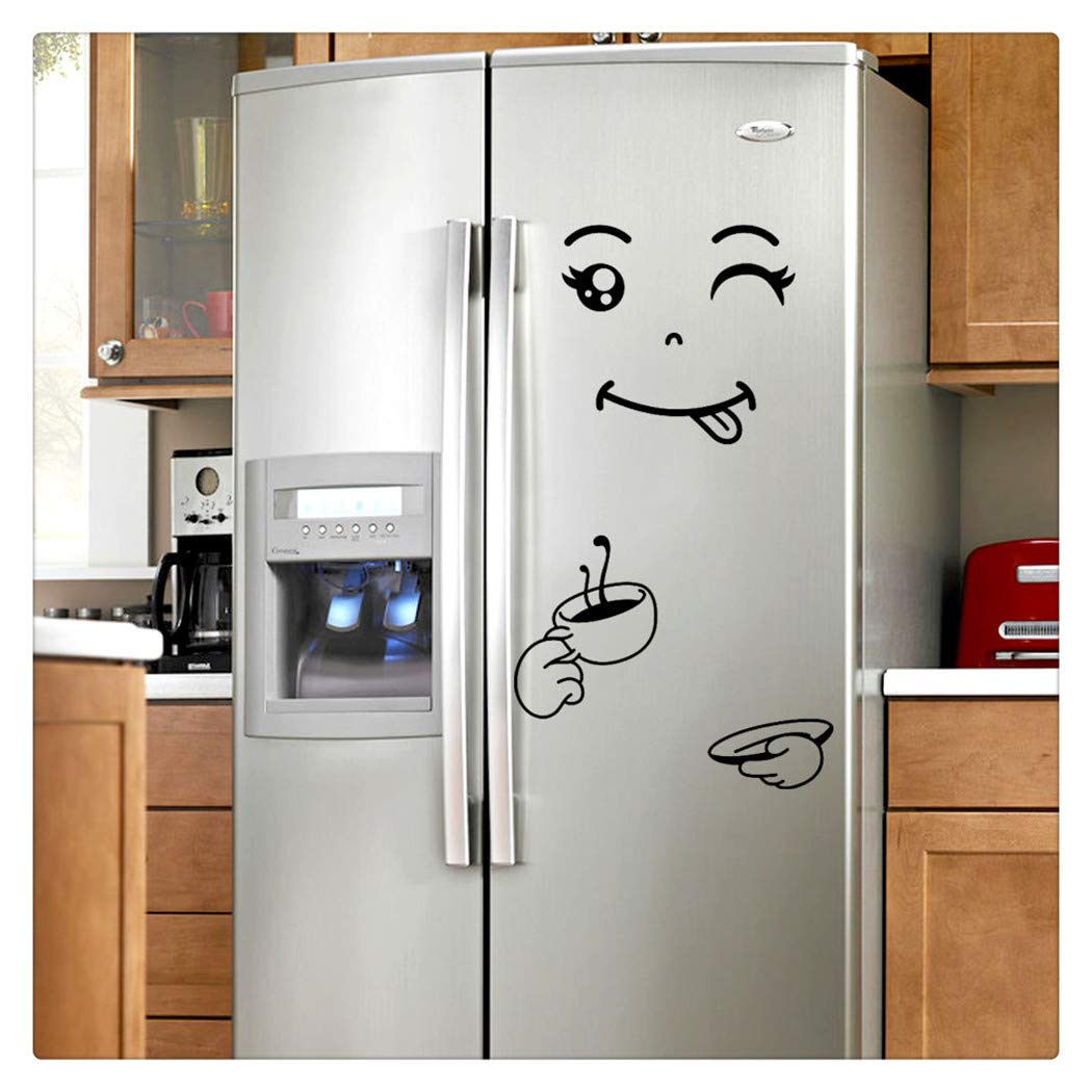 Amazon com alixyz fridge cute decal diy home decor wall decorations happy delicious face fridge decal dining room wall stickers kitchen wall decal c
