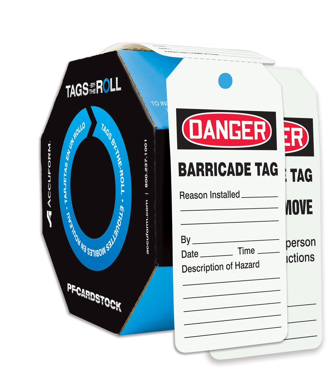 Accuform Signs TAR158 Tags by-The-Roll Barricade Status Tags, Legend''Danger Barricade TAG'', 6.25'' Length x 3'' Width x 0.010'' Thickness, PF-Cardstock, Red/Black on White (Roll of 250) by Accuform