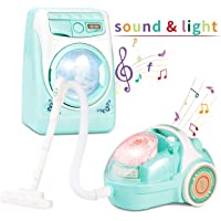 Jaolex Toy Washing Machine Laundry Vacuum Cleaner Toy Sets Home Appliances Toys Mini Simulation Pretend Role Play Set for Kids