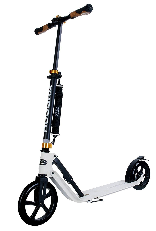 Hudora 230 Big Wheel Kick Scooter for Teen Adult - 230MM & 205MM Wheel, 17.7-Inch x 5.5-Inch Deck, Fold Down, Height Adjustable, Rear Friction Brake City Scooter - Black/White (Black) LI YU SZ
