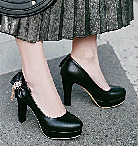 Aisun Femmes Élégant Habillé Taille Basse Strass Chunky Haut Talon Bout Rond Slip Sur Plateforme Pompes Chaussures Avec Arc Noir