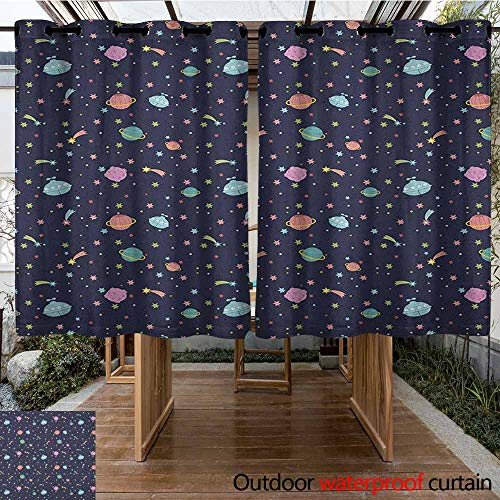 - AndyTours Grommet Outdoor Curtains,Space,Alien Planets with Shooting Stars and Polka Dots Galaxy Heavenly Bodies Asteroid,Waterproof Patio Door Panel,K140C160 Multicolor