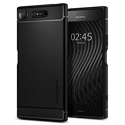 brand new b5692 9b5a2 Spigen Rugged Armor Sony Xperia XZ1 Case with Resilient Shock Absorption  and Carbon Fiber Design for Sony Xperia XZ1 (2017) - Black