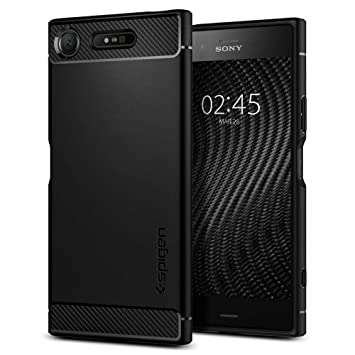 cheap for discount 16a96 d393e Spigen [Rugged Armor] [Black] Case for Sony Xperia XZ1, Original Patent  Carbon Fiber Design Flexible Slim TPU Phone Cover for Sony Xperia XZ1 Case  ...