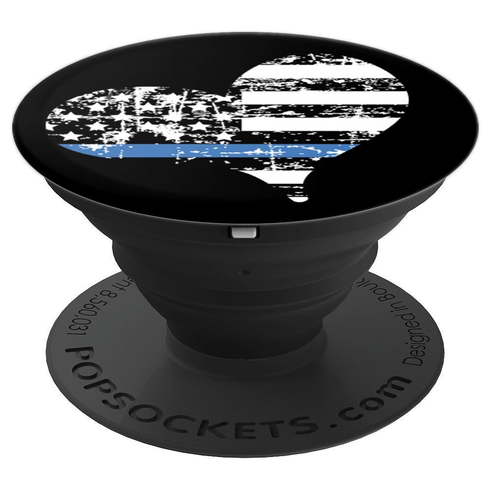 Distressed Grunge Thin Blue Line Heart USA Flag on Black - PopSockets Grip and Stand for Phones and Tablets