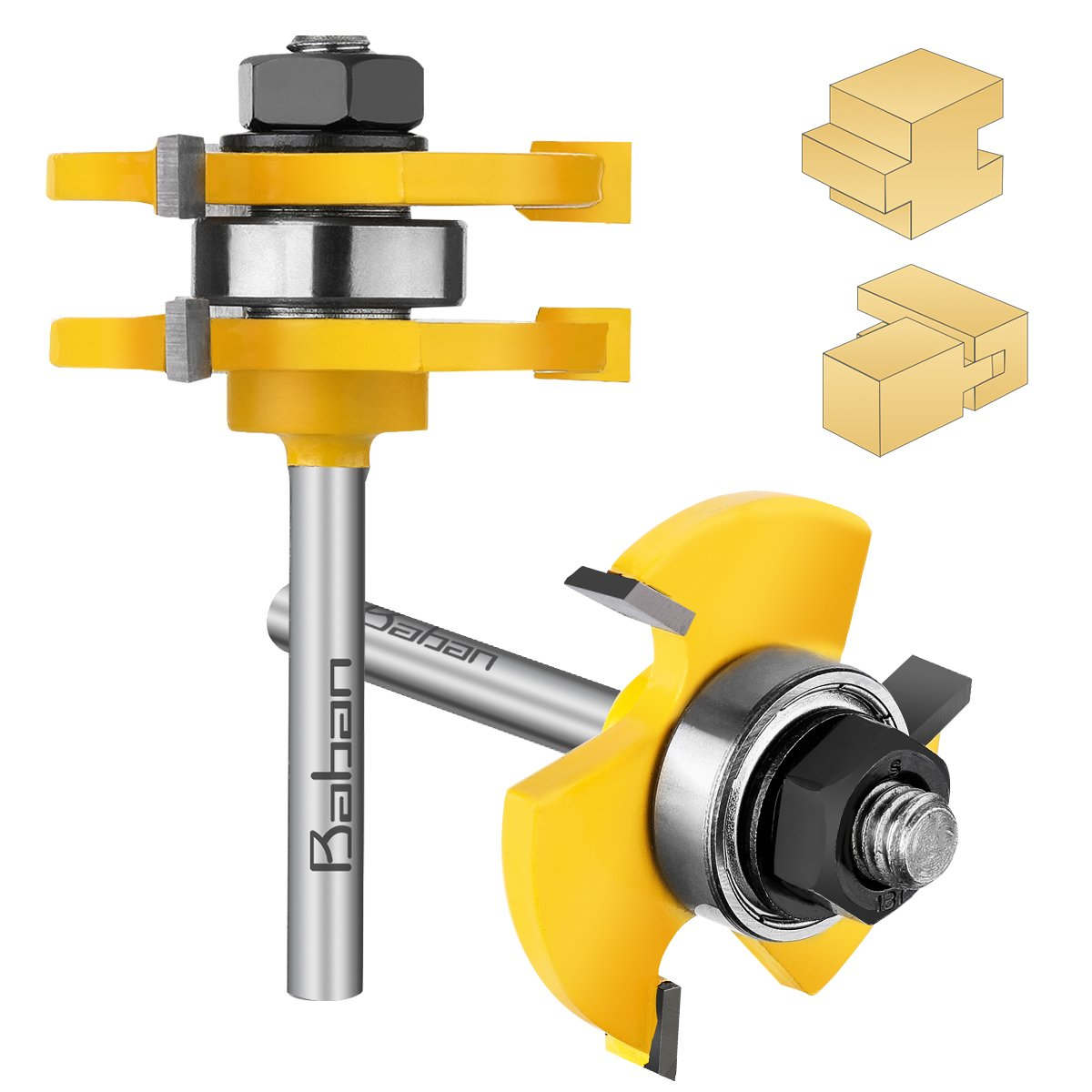 Router Bits, Baban 1/4'' Shank Tongue and Groove Router Bit Set Wood Door Flooring 3 Teeth Adjustable Routers for Woodworking Milling Cutter Tool For Router Table/Base Router, Kitchen/Bathroom/Cabinets by Baban (Image #1)