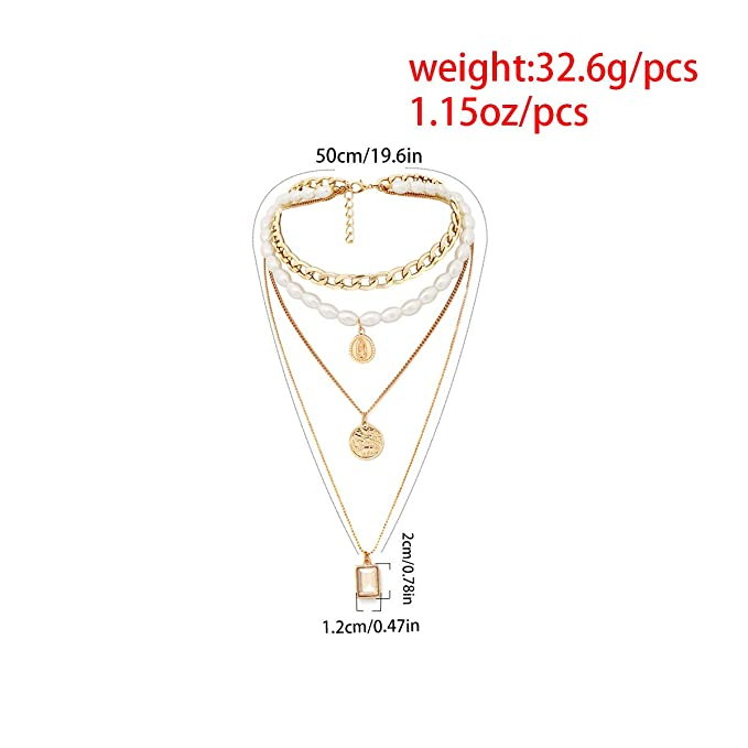 aa50afe0a5942 Amazon.com: QTMY Layered Boho Pearl Choker Necklace for Women ...