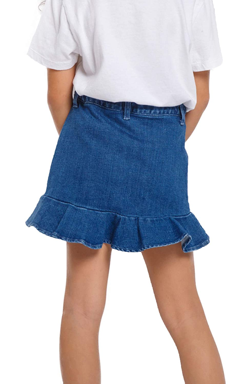 M.D.K Girls Classic Comfy Denim Ruffle Trim Button End Cute Pocket Mini Skirt