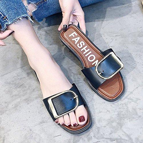 Jiyaru Women's Slide Sandals Slip On Slippers Open Toe Flats Casual Shoes Black iX5ppP58Lv