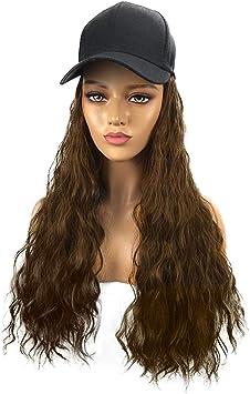 Sombrero de mujer de 55 cm, gorra de béisbol con pelo largo ...