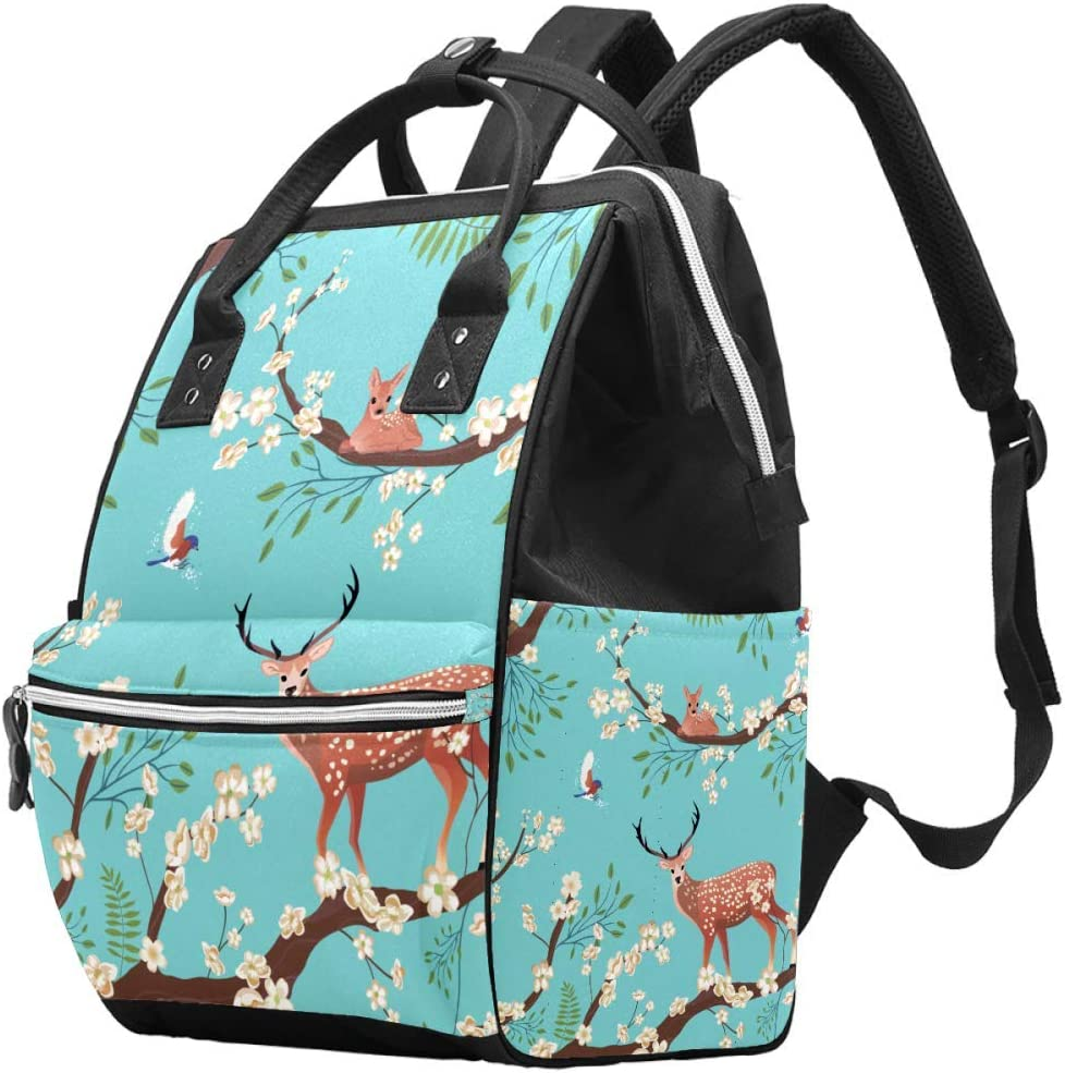 Deer Sakura Blossom Japanese Flower Animal Diaper Bag Laptop Backpacks Notebook Rucksack Travel Hiking Daypack for Women Men