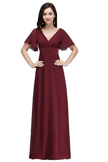MisShow Damen Elegant A-Linie V-Ausschnitt Chiffon Abendkleid  Brautjungfernkleid Ballkleid lang 32-46  Amazon.de  Bekleidung 6e1c9f4619