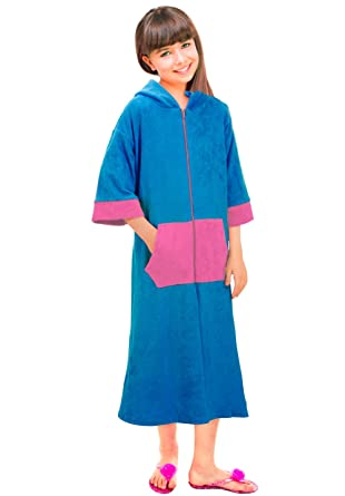 620ce70042 Girls Long Sleeve Zip-Up Terry Coverup Swim Robe with Hood and Pocket  Bathrobe (