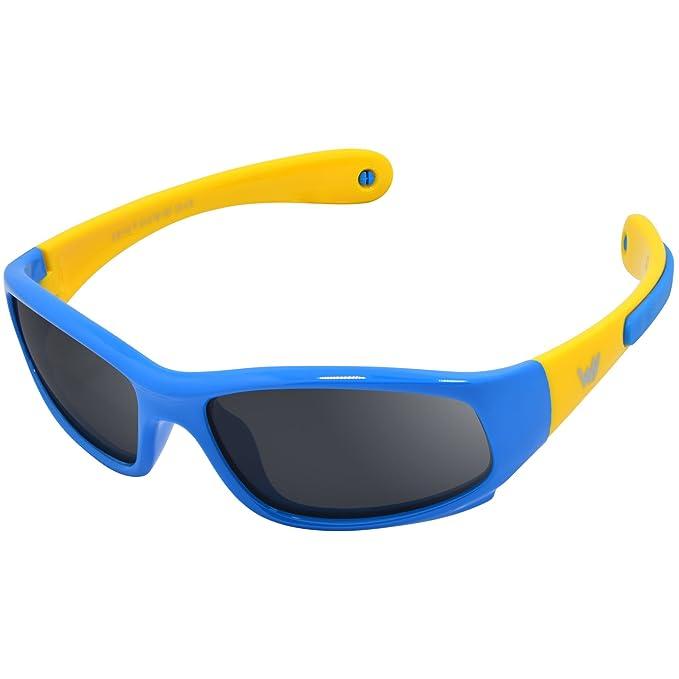 WHCREAT Gafas de sol polarizadas para niños Wrap Sport Marco de goma flexible con bandas antideslizantes para niñas de 3 a 6 años