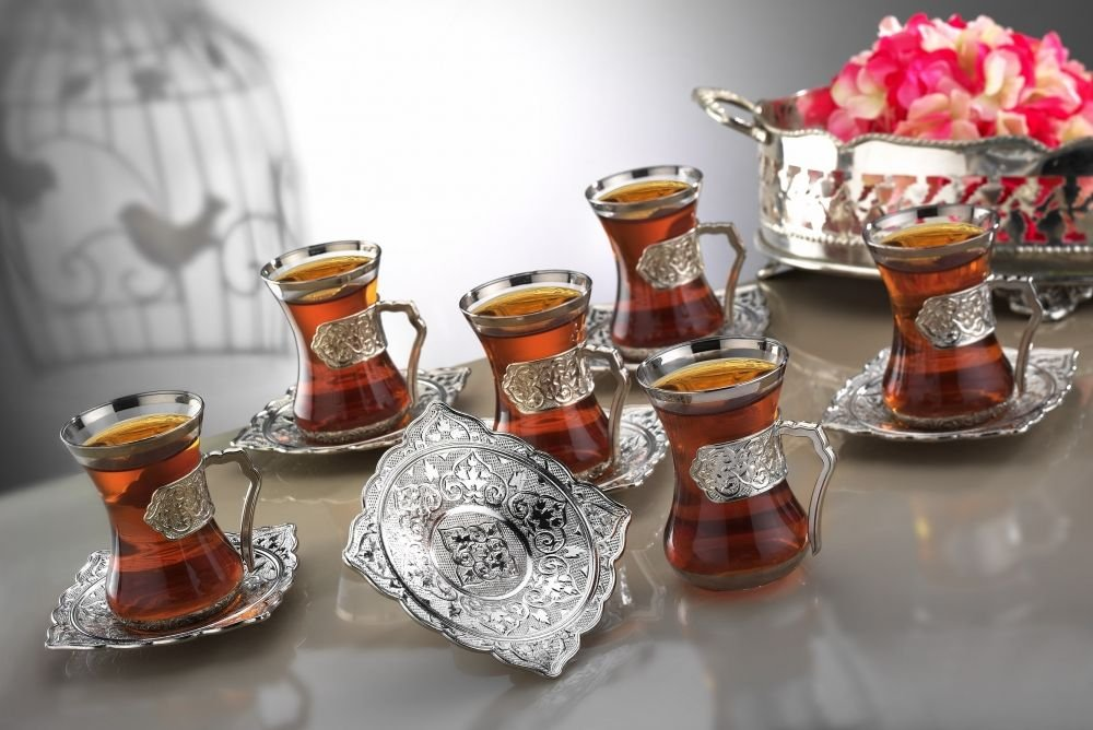 18 Pieces Tea Glasses with Holders and Saucers Set of 6 - Vintage Design Ottoman Arabic Gift Set, Silver