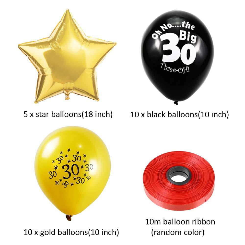 Sunarrive Decoracion Fiesta 30 Cumplea/ños para Mujer Hombre Globos 30 A/ños Helio Oro Negro
