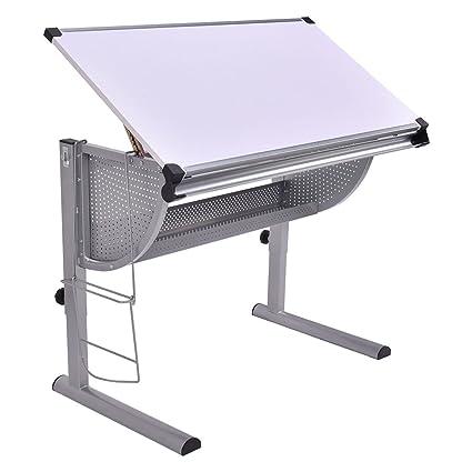 Tangkula drafting table drawing desk adjustable art craft hobby studio architect work white