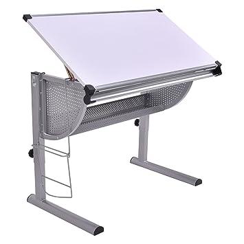 Tangkula Drafting Table Drawing Desk Adjustable Art U0026 Craft Hobby Studio  Architect Work (White)