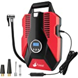 Portable Air Compressor Tire Pump, Foseal Auto Shutoff Digital Tire Inflator 12V 150 PSI Easy to Use,Overheat Protection,Fast,Low Noisy for Car Bicycle Motorcycle Basketball etc.