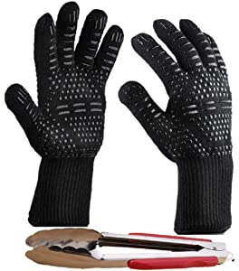 Peckay Best BBQ Cooking Glove Extreme Heat Resistant Insulated Silicone up to 932°F with Long Cuff Good for Baking, Frying, Grilling, Cutting, and for All Kitchen Use with Bonus Tong for Barbecue
