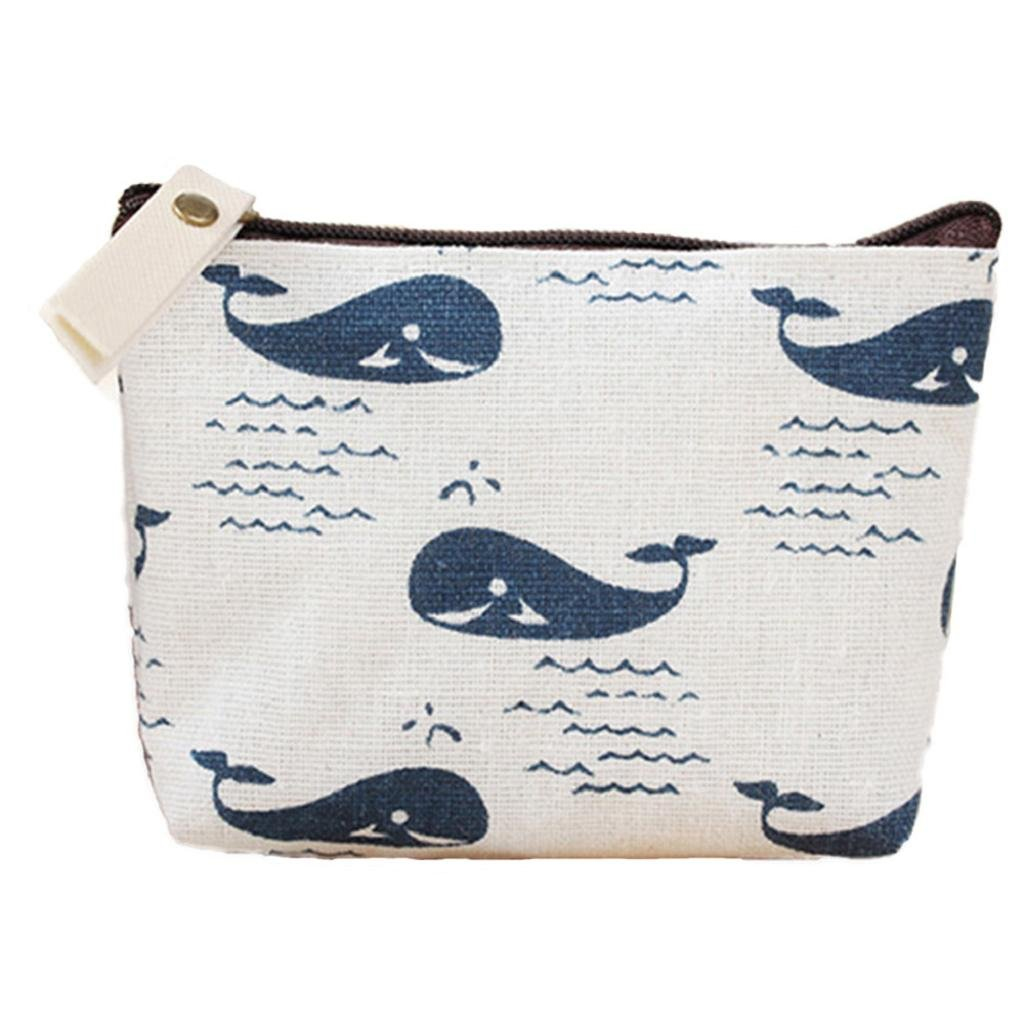Polytree Printed Canvas Change Coin Purse Holder Zip Mini Wallet - 5 by Polytree (Image #1)