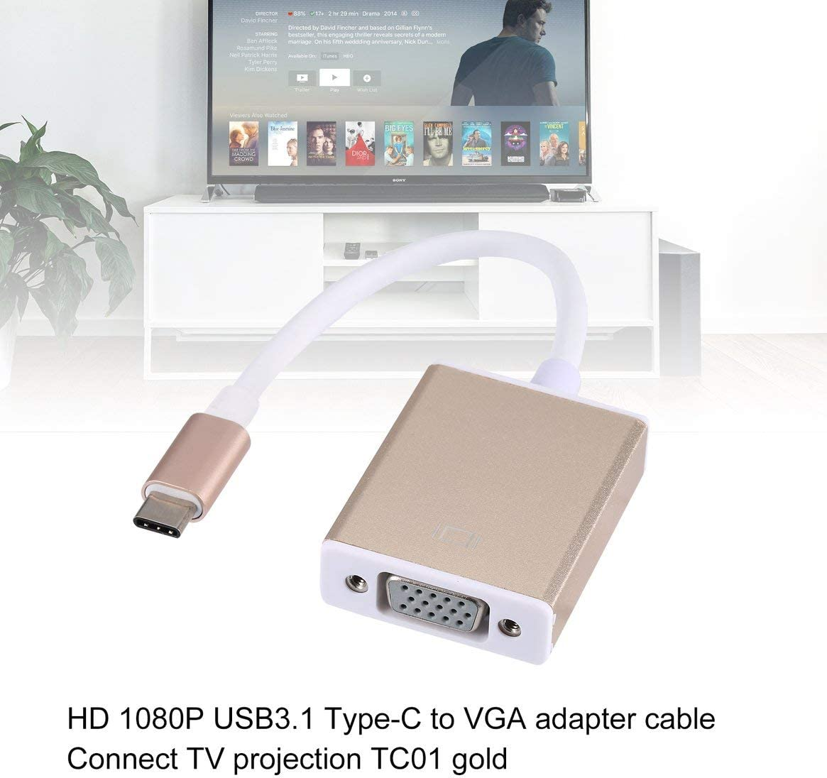 USB 3.1 Type C USB-C to VGA Adapter USB C Type C Thunderbolt 3 to VGA Male to Female Converter Cable for MacBook Pro