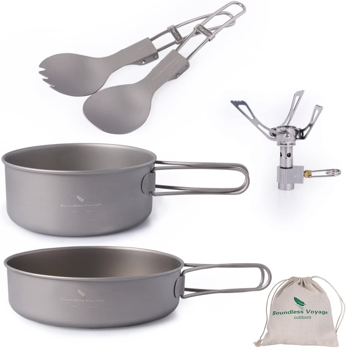 iBasingo Titanium Pots Set Mini Camping Titanium Bowl Set Outdoor Cookware Cooking Pan Pot with Folding-handle Travel Kitchen Mess Kits Picnic Hiking Dishes for 1 Person